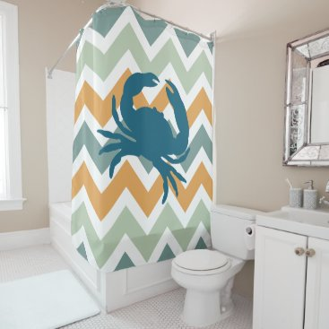 Beach Themed Beach House Home Decor Crab Chevron Shower Curtain