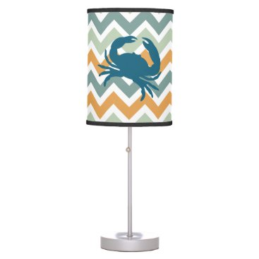 Beach Themed Beach House Home Decor Crab Chevron Table Lamp