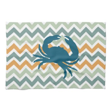 Beach Themed Beach House Kitchen Home Decor Crab Chevron Hand Towels