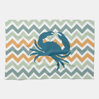Beach House Kitchen Home Decor Crab Chevron Kitchen Towel