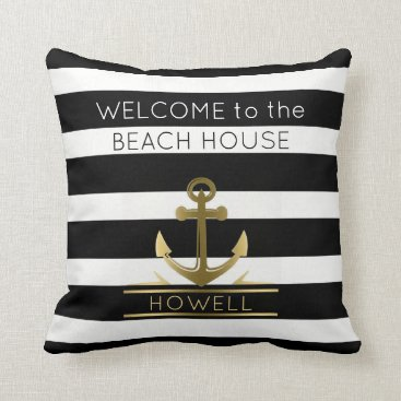 Beach House Nautical Anchor Family Name B&W Stripe Throw Pillow