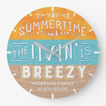 Beach House Nautical Breezy Summertime | Add Name Large Clock