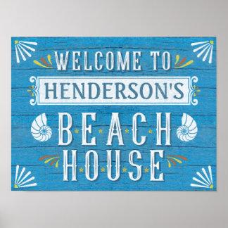 Beach House Nautical Coastal Blue | Custom Name Poster