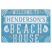 Beach House Nautical Coastal Shells Custom Name Doormat