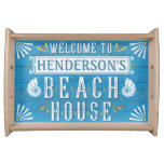 Beach House Nautical Coastal Summer | Custom Name Serving Tray