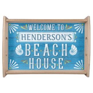 Beach House Nautical Coastal Summer | Custom Name Serving Tray