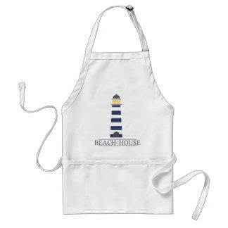 Beach House. Nautical navy blue lighthouse. Adult Apron