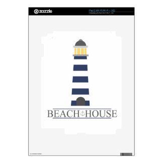 Beach House. Nautical navy blue lighthouse. Skin For The iPad 2