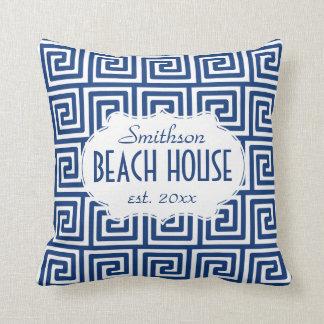 Beach House Nautical Navy Key Deco Personalized Throw Pillow