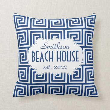 FancyCelebration Beach House Nautical Navy Key Deco Personalized Throw Pillow