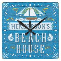 Beach House Nautical Sailboat Shells Custom Name 2 Square Wall Clock
