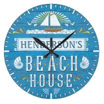Beach House Nautical Sailboat Shells Custom Name Large Clock