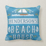 Beach House Nautical Sailboat Shells Personalized Throw Pillow