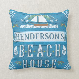 Beach House Nautical Sailboat Shells Personalized Throw Pillow