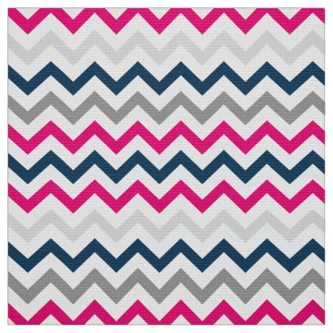 Beach Themed Beach House Navy and Pink Chevron Pattern Fabric