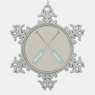 Beach House Oars Snowflake Pewter Christmas Ornament