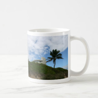 Beach House on Hill with sky and palm tree Coffee Mugs