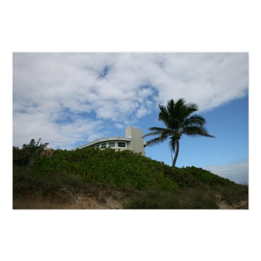 Beach House on Hill with sky and palm tree Print