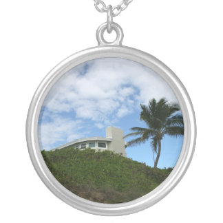 Beach House on Hill with sky and palm tree Round Pendant Necklace