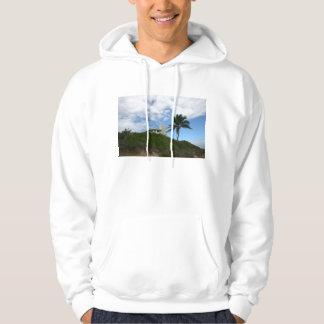 Beach House on Hill with sky and palm tree Sweatshirt