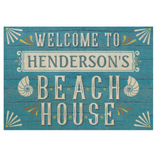 Beach House Personalized Coastal Nautical Blue Wood Poster