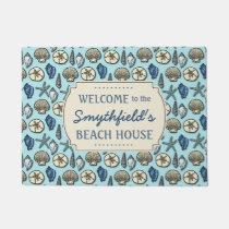 Beach House Personalized Sea Shells Blue Nautical Doormat