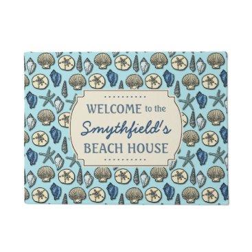 FancyCelebration Beach House Personalized Sea Shells Blue Nautical Doormat