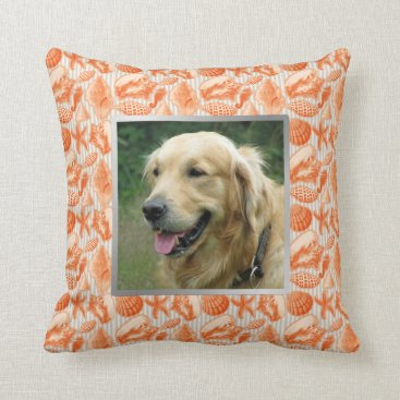 Beach Themed Beach House Pet Photo Orange Seashells Accent Throw Pillow