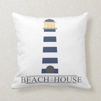 Beach House Pillow. Navy Blue Lighthouse Throw Pillow