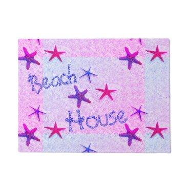 Beach Themed Beach House, Pink Starfish Doormat