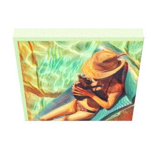 Beach House Print-Woman and Boston Terrier Puppy Canvas Print
