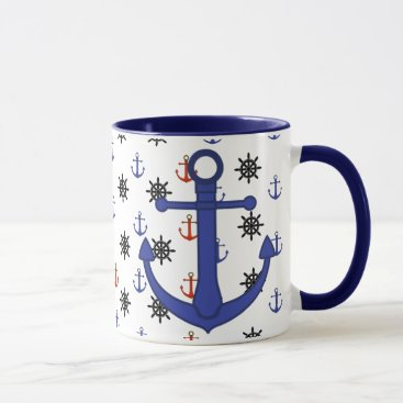 Beach Themed Beach House Red and Blue Anchors Coffee Cup