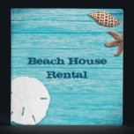 """Beach House Rental Information Book Binder<br><div class=""""desc"""">Beach house rental / information binder with a tropical theme. Seashells on aqua blue boards and distressed, custom text, on the front and spine. A sand dollar, junonia shell and starfish decorate the front. Customize to use for any purpose. Add your own paper or photo pages - NONE COME with...</div>"""