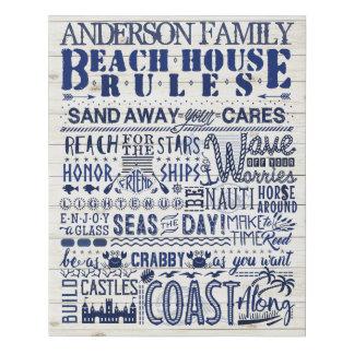 Beach House Rules Custom Family Cottage Sign Blue