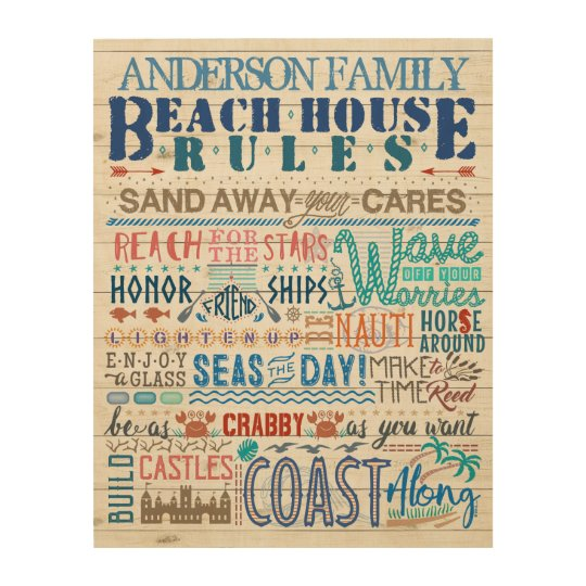 Beach House Rules Family Cottage Sign Custom Name | Zazzle.com