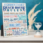"Beach House Rules Family Sign | Custom Cottage Plaque<br><div class=""desc"">Decorate your coastal cottage with this personalized &quot;family beach house rules&quot; 8x10 display plaque. Full of funny sayings in shades of blue, aqua green, coral, red and sandy brown, this whimsical artwork will make your family and your guests laugh. The background has a light faux (printed) wooden texture. The typography...</div>"