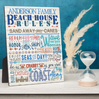 Beach House Rules Family Sign | Custom Cottage Plaque