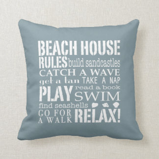 Beach House Rules in Denim Blue Square Pillow