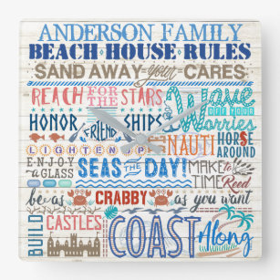 Beach House Rules Personalized Family Name Coastal Square Wall Clock