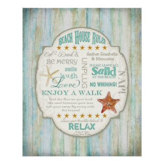 Beach House Rules Seashore Cottage Home Decor Art Poster