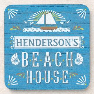 Beach House Sailboat Nautical Shells Personalized Drink Coaster
