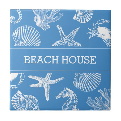 Beach house sea animals drawings ceramic tile zazzle for Beach house drawing