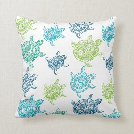 Beach House Sea Turtle Decorative Throw Pillow Zazzle.com