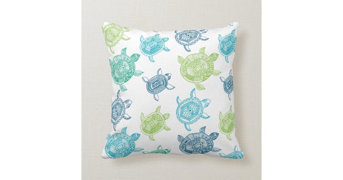 Beach House Sea Turtle Decorative Throw Pillow Zazzle