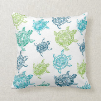 beach house sea turtle decorative throw pillow