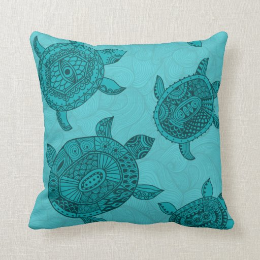 Beach House Sea Turtle Decorative Throw Pillow