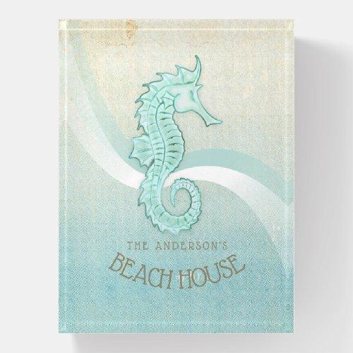Beach House Seahorse Aqua Blue ID623 Paperweight