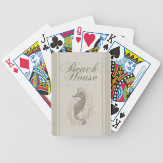 Beach House Seahorse Sandy Coastal Decor Bicycle Playing Cards