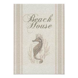 Beach House Seahorse Sandy Coastal Decor 4.5x6.25 Paper Invitation Card