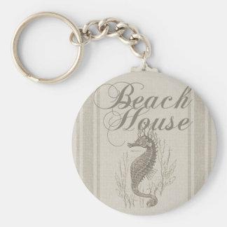 Beach House Seahorse Sandy Coastal Decor Keychain